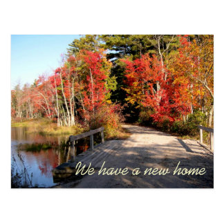 Bridge in Fall, Scenic Country Home New Address Postcard