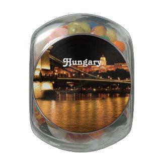 Bridge in Hungary Glass Candy Jars