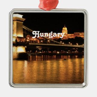 Bridge in Hungary Square Metal Christmas Ornament
