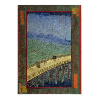 Bridge in Rain after Hiroshige by Vincent Van Gogh 5x7 Paper Invitation Card
