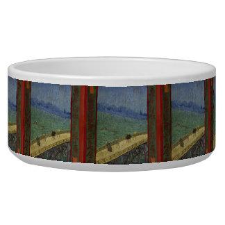 Bridge in Rain after Hiroshige by Vincent Van Gogh Dog Water Bowls