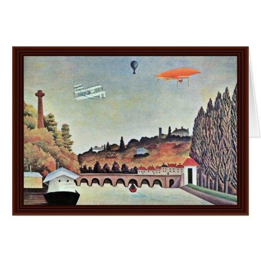 Bridge In Sèvres,  By Rousseau Henri Greeting Cards