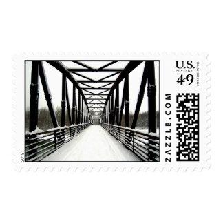Bridge in snow postage stamp
