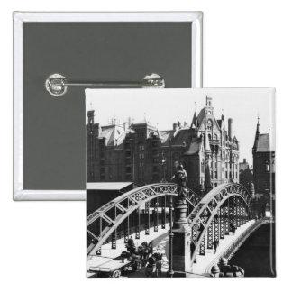 Bridge in the Speicherstadt  Hamburg, c.1910 Pinback Button