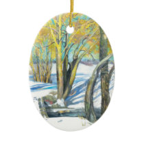 bridge in the winter ceramic ornament