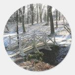 bridge in winter round stickers
