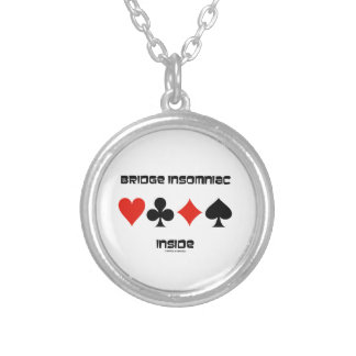 Bridge Insomniac Inside (Four Card Suits) Silver Plated Necklace