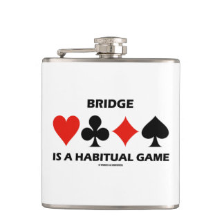 Bridge Is A Habitual Game Four Card Suits Flask