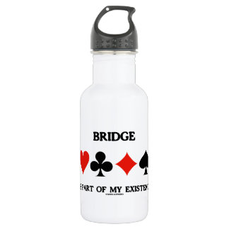 Bridge Is Part Of My Existence (Four Card Suits) 18oz Water Bottle