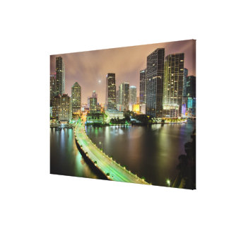 Bridge leads across waterway to downtown Miami Stretched Canvas Prints