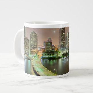 Bridge leads across waterway to downtown Miami Large Coffee Mug