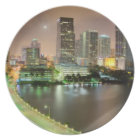 Bridge leads across waterway to downtown Miami Melamine Plate