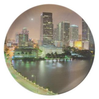 Bridge leads across waterway to downtown Miami Melamine Plate