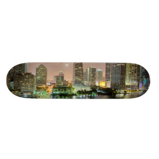 Bridge leads across waterway to downtown Miami Skateboard Deck