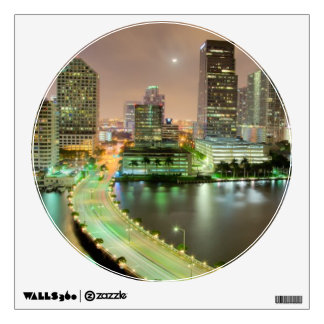 Bridge leads across waterway to downtown Miami Room Decal