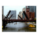 Bridge lift on the Chicago River Postcard
