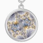 Bridge Network - Mandelbrot Fractal Art Silver Plated Necklace