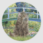 Bridge - Norwegian Forest cat Round Stickers