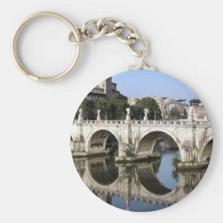 Bridge of Castel st Angelo, Rome, Italy Basic Round Button Keychain