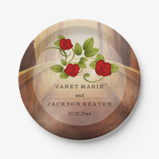 Bridge of Love, Nature Wedding - Red Roses Paper Plate