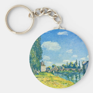 Bridge Of Moret In Summer By Sisley Alfred Basic Round Button Keychain