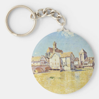 Bridge Of Moret In The Morning SunBy Sisley Alfred Basic Round Button Keychain