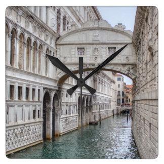 Bridge Of Sighs Venice Italy Square Wall Clock