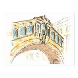 Bridge of Sighs watercolour drawing Postcard