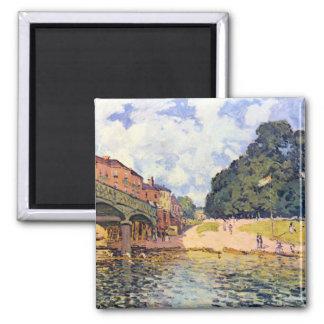 Bridge on Hampton Court by Alfred Sisley Magnet