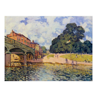 Bridge on Hampton Court by Alfred Sisley Posters