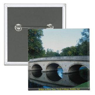 Bridge on River Cam, Trinity College, Dublin, Irel 2 Inch Square Button