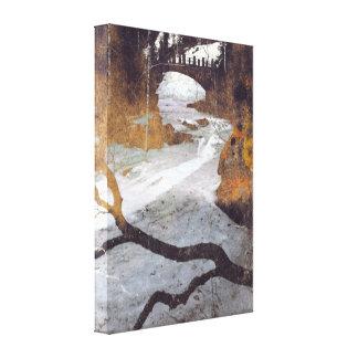 Bridge Over a Frozen Stream by Alexandra Cook Canvas Print