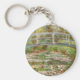 Bridge over a Pond of Water Lilies, Claude Monet Basic Round Button Keychain
