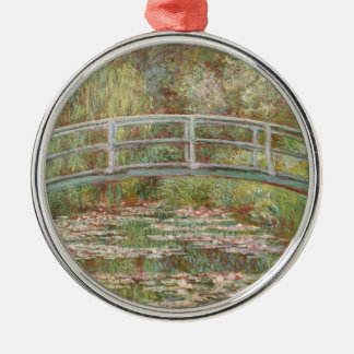 Bridge Over a Pond of Water Lilies Metal Ornament