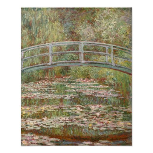 Bridge Over a Pond of Water Lilies Print
