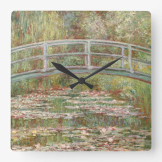 Bridge Over a Pond of Water Lilies Square Wall Clocks