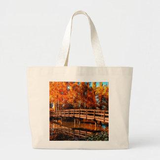 Bridge over autumn water bags