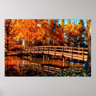 Bridge over autumn water posters
