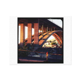 Bridge over construction site canvas print