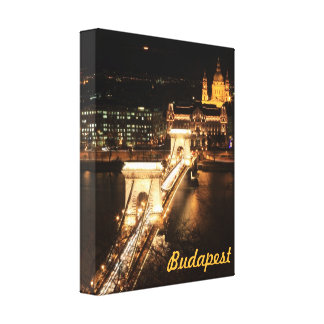Bridge over Donau river nightview Budapest Canvas Print