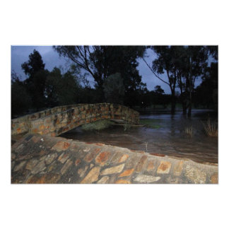 Bridge over  Flooding Water Print