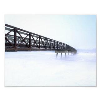 Bridge Over Frozen Lake Photo Print