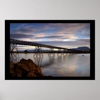 Bridge over Lake Trawsfynydd. Poster by cARTerART