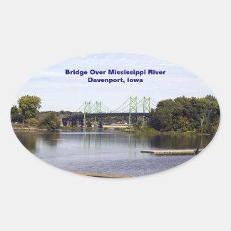 Bridge Over Mississippi River Davenport, Iowa Oval Sticker