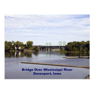 Bridge Over Mississippi River Davenport, Iowa Postcard