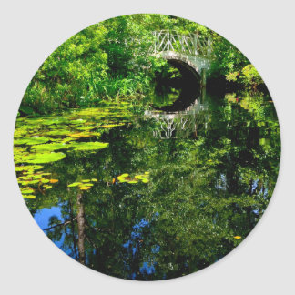 Bridge Over Peaceful Water Classic Round Sticker