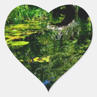 Bridge Over Peaceful Water Heart Sticker