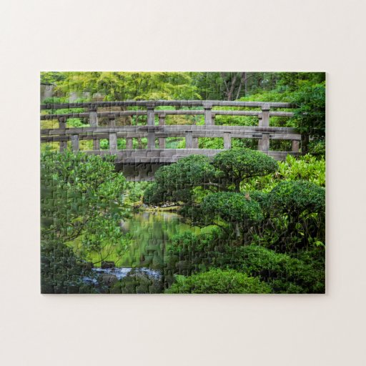 Bridge Over Pond In The Japanese Garden Jigsaw Puzzles