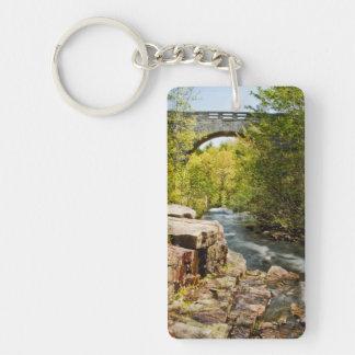 Bridge Over River Double-Sided Rectangular Acrylic Keychain