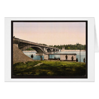 Bridge over the Allier, Vichy, France vintage Phot Card